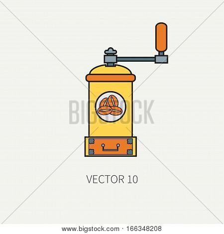 Line color vector kitchenware icons - coffee mill. Cutlery tools. Cartoon style. Illustration, element for your design. Equipment for food preparation. Kitchen. Household. Cooking. Cook. Grinder.
