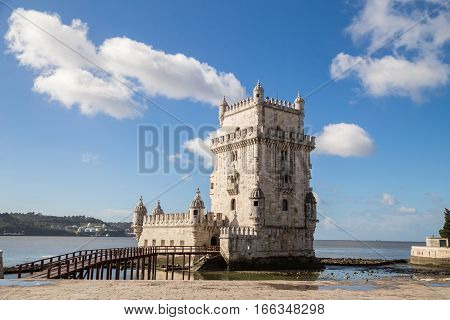 Lisbon, Portugal - february 18, 2014: The Tower of St. Vincent, also known as Belem Tower, on the Tagus River. It is a UNESCO World Heritage Site dating from the early 16th Century.