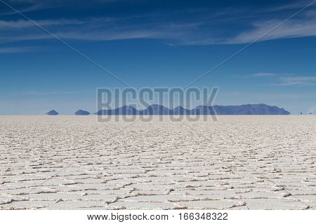 Mirage of mountains at Salar de Uyuni Altiplano Bolivia
