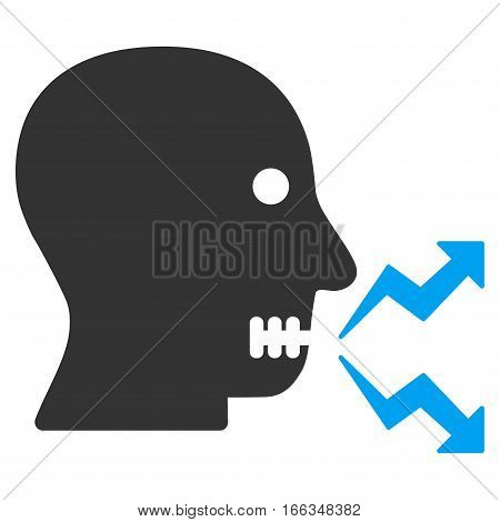 Angry Person Shout vector icon. Flat bicolor blue and gray symbol. Pictogram is isolated on a white background. Designed for web and software interfaces.
