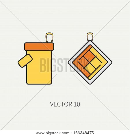 Line color vector kitchenware icons - oven-glove. Cutlery tools. Cartoon style. Illustration, element for your design. Equipment for food preparation. Kitchen. Household. Cooking. Cook. Potholder.