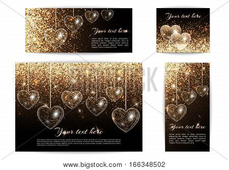 Set of horizontal and vertical banners in a romantic style with hearts and light effect. Gold glitter on a black background