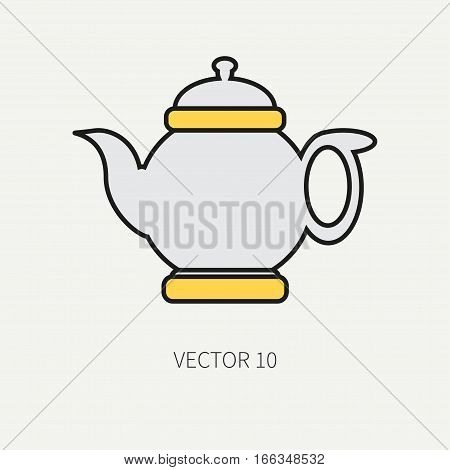 Line flat color vector kitchenware icons - teapot. Cutlery tools. Cartoon style. Illustration, element for your design. Equipment for food preparation. Kitchen. Household. Cooking. Cook. Tea.