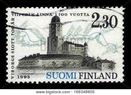 FINLAND - CIRCA 1993: a stamp printed in Finland shows Vyborg Castle, 700 years city of Vyborg, circa 1993