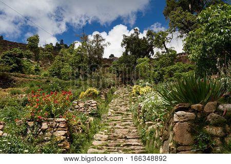 Inca stairs at Isla del Sol Lake Titicaca Bolivia