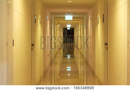 Clean Glossy of an Apartment Corridor at night