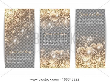 A set of vertical banners to celebrate Valentine's Day. Bling background with brilliant light. Glitter gold on a transparent backdrop.