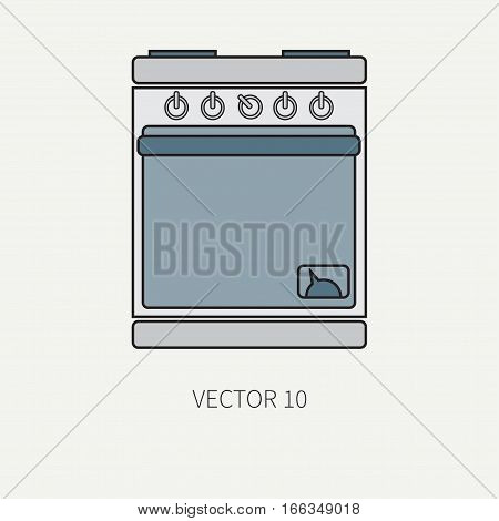 Line flat color vector kitchenware icons - oven. Cutlery tools. Cartoon style. Illustration, element for your design. Equipment for food preparation. Kitchen. Household. Cooking. Cook. Stove. Bake.