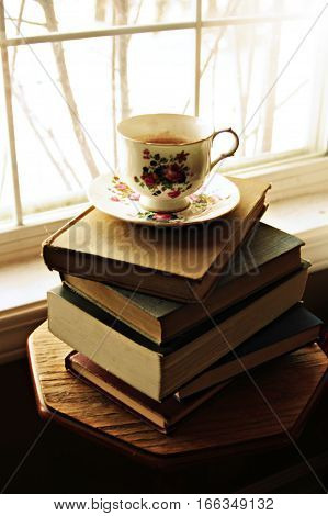 Pretty floral antique teacup sitting on book pile, by white sunlit window.