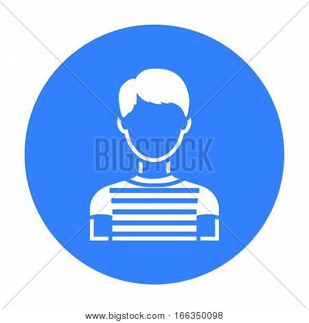 Boy icon blue. Single avatar, peaople icon from the big avatar black. - stock vector
