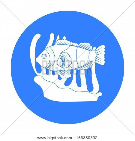 Clownfish and anemone icon in blue design isolated on white background. Australia symbol stock vector illustration.