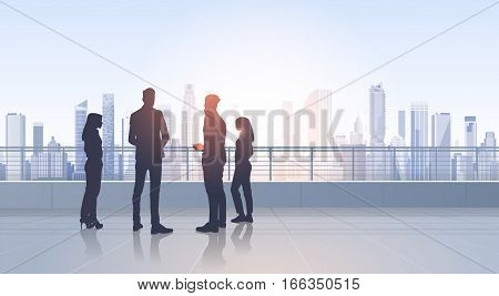 Business People Group Silhouettes Over City Landscape Modern Office Buildings Vector Illustration