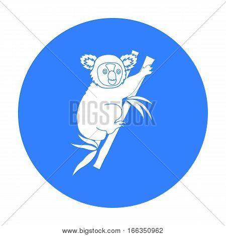 Australian koala icon in blue design isolated on white background. Australia symbol stock vector illustration.