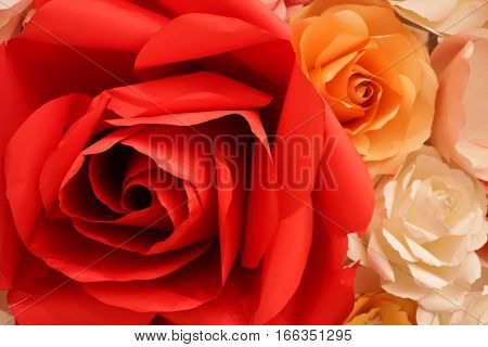 Red Rose Flower Made of Paper Background