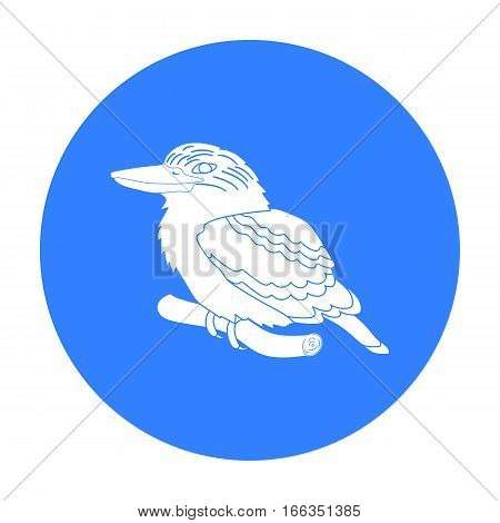 Kookaburra sitting on branch icon in blue design isolated on white background. Australia symbol stock vector illustration.