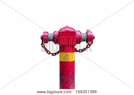Weathered Red Fire Hydrant with Chain Stained Fire Hydrant Isolated on white background grungy rusty fire hydrant with yellow tab