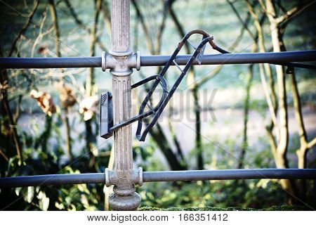 An old bicycle luggage rack is chained to a fence after a bicycle theft.
