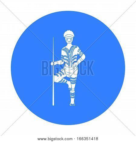 Astralian aborigine icon in blue design isolated on white background. Australia symbol stock vector illustration.