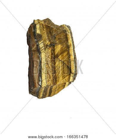Unpolished raw tiger eye used in esoteric and alternative medicine. Semiprecious natural stone isolated on white background.