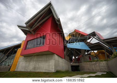 June 13 2016 Panama City Panama: the colourful modern building of Biomuseum