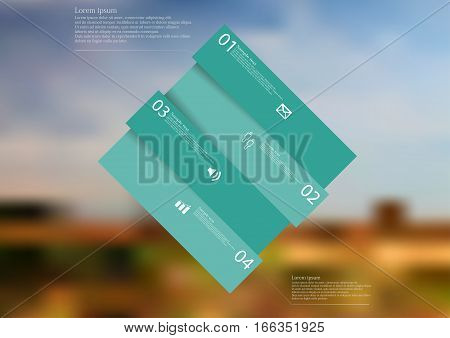 Illustration infographic template with motif of color rectangle askew divided to four sections with simple signs. Blurred photo with natural motif with field and sky is used as background.