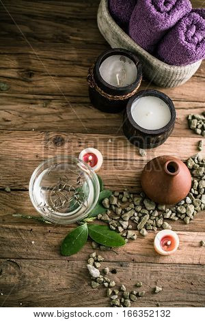 Spa and wellness setting with oils and plants. Dayspa nature products