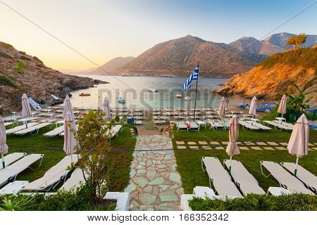 Bali Island Crete Greece - June 21 2016: Morning scenery with mountains sea and cozy beach near of village Bali located on the coast.
