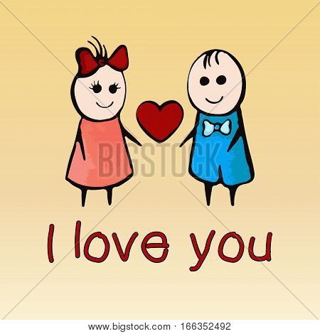 I Love You, Card For Valentine's Day February 14Th, Banner, Poster,  Confession. Cartoon Painted Lov