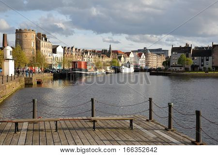 EDINBURGH, SCOTLAND - MAY 5, 2016: The Quayside in Leith (district in the North of Edinburgh)