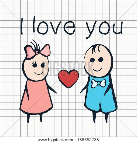 I Love You, Card For Valentine's Day February 14Th. Cartoon Lovers Boy And Girl With Heart On The Ba