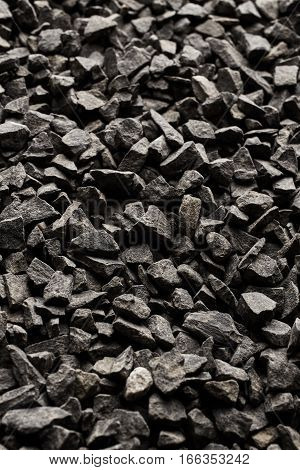 Texture of black stones. Nature background. Rocks