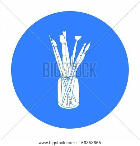 Paintbrushes for painting in the jar icon in blue style isolated on white background. Artist and drawing symbol vector illustration.