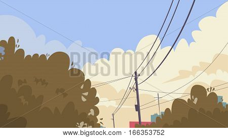 City Sky With Clouds Power Lines Banner Copy Space Flat Vector Illustration