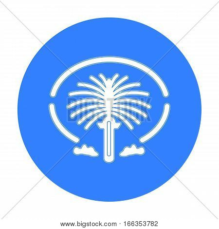 The Palm Jumeirah icon in blue style isolated on white background. Arab Emirates symbol vector illustration.