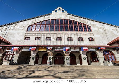 December 25, 2015 Fort Worth Texas: the Cowtown Coliseum at the Stockyards is hosting weekly rodeo events and concerts