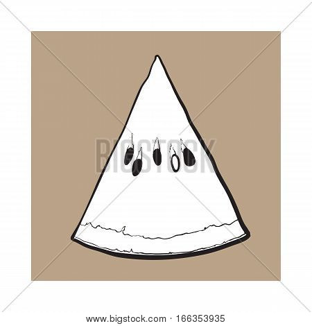 black and white Triangular slice of ripe watermelon with black seeds, sketch style vector illustration isolated. Realistic hand drawing of piece, sliced, V-shaped section of ripe watermelon