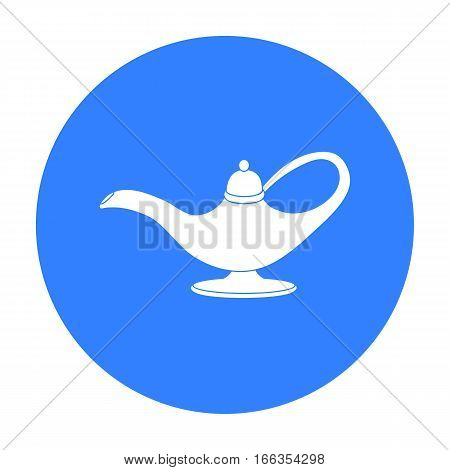 Oil lamp icon in blue style isolated on white background. Arab Emirates symbol vector illustration.