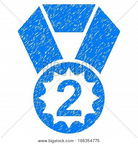 Second Place grainy textured icon for overlay watermark stamps. Flat symbol with scratched texture. Dotted vector blue ink rubber seal stamp with grunge design on a white background.