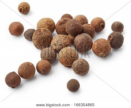 Allspice isolated on the white background. Pepper spice