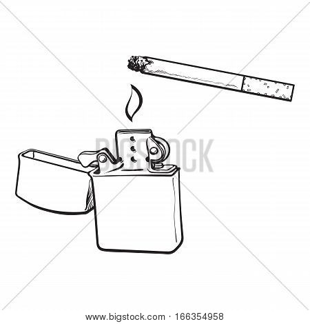 Silver metal lighter and burning cigarette, sketch vector illustration isolated on white background. Realistic hand-drawing metal lighter used to lit a cigarette