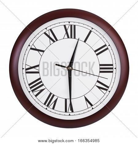 Half past twelve on a big round dial
