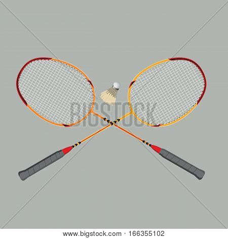 badminton rackets and shuttlecock, vector illustration, sport equipment