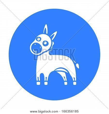 Donkey icon blue. Singe animal icon from the big animals monochrom Stock vector