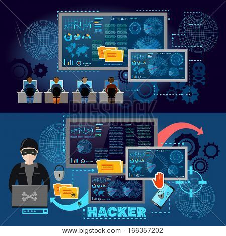 Hackers cyber army hacking and surveillance of computers data theft. Hacker team internet security concept