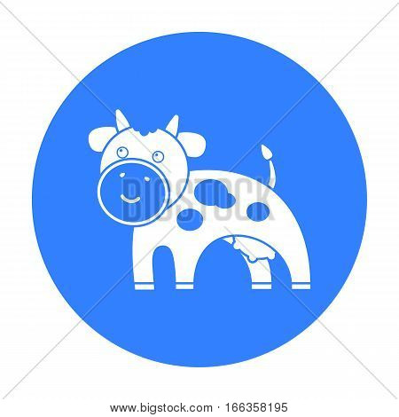 Cow blue icon. Illustration for web and mobile.