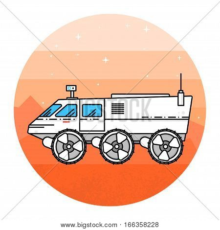 Mars rover on the white background. Human mission to Mars. For web design and application interface, also useful for infographics. Thin line icon. Vector Illustration.