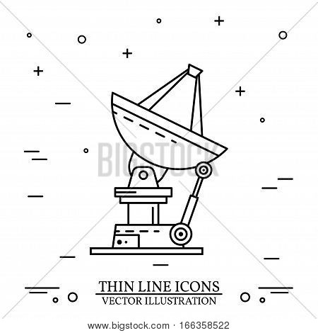 Satellite dishes on the white background. Human mission to Mars. For web design and application interface, also useful for infographics. Vector Illustration.