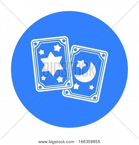Tarot cards icon in blue style isolated on white background.