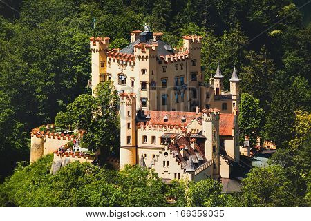 Panoramic View of castle Hohenschwangau Bavaria Germany