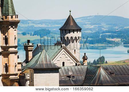 Close Up View Of Neuschwanstein Castle, Bavaria,  Germany